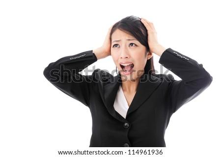 a young asian businesswoman confusing - stock photo