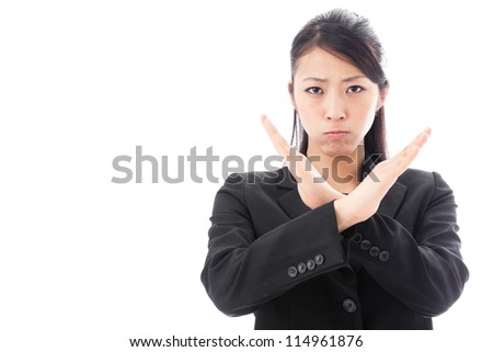 a young asian businesswoman showing x sign - stock photo