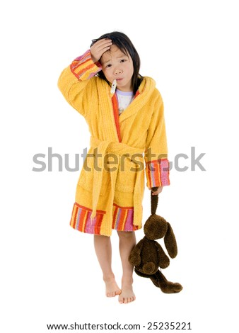 A young asian girl with a thermometer  not feeling very well. - stock photo