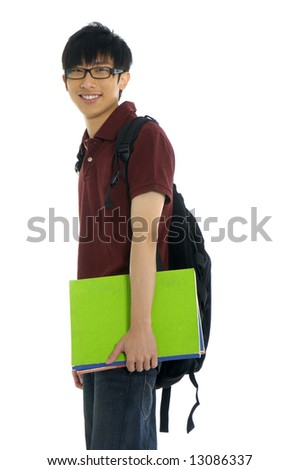 A young asian student with folder - stock photo