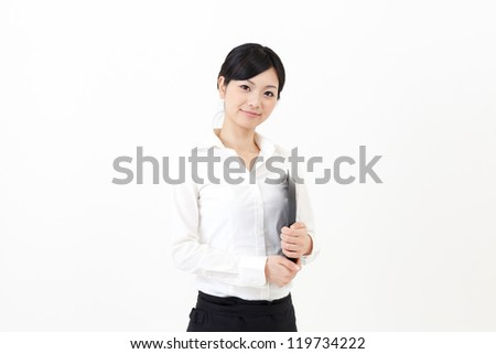 a young asian waitress on white background - stock photo
