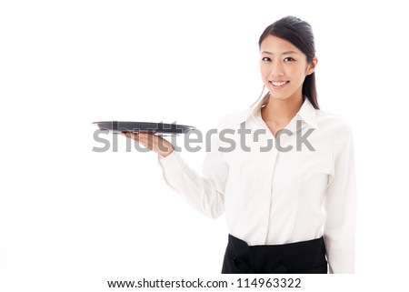 a young asian waitress with tray on white background - stock photo