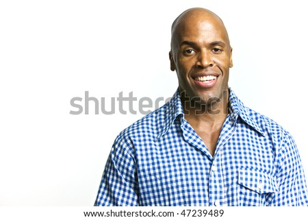 A young attractive African American Man with a Collared Shirt - stock photo