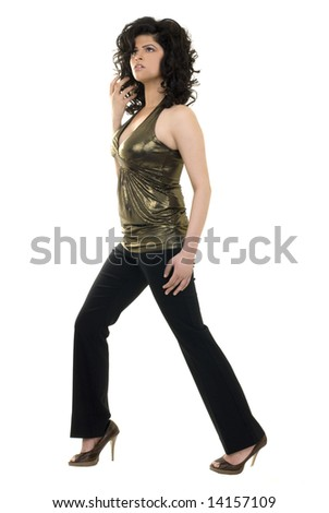 A young attractive and fashionable woman isolated on a white background. - stock photo