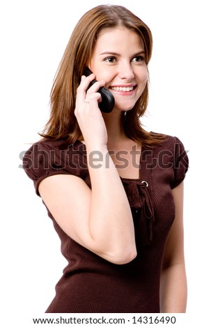 A young attractive woman holding mobile phone on white background