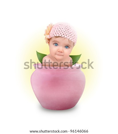 A young baby girl is sitting in a pink flower pot on a white, isolated background. - stock photo