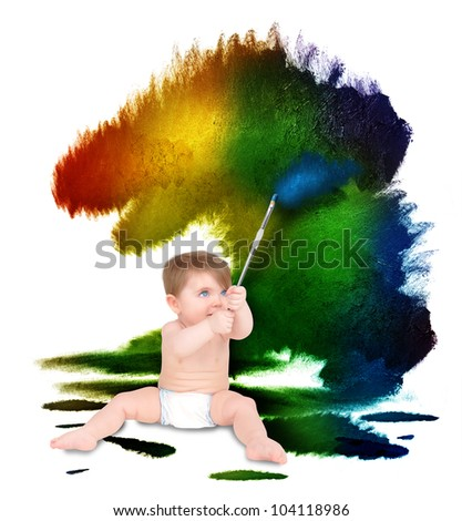 A young baby is painting colorful rough splatters on a white wall. Use it for an art education or artist concept. - stock photo
