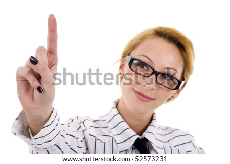a young beautiful businesswoman making choice over white - stock photo