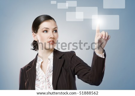 a young beautiful businesswoman making choise - stock photo