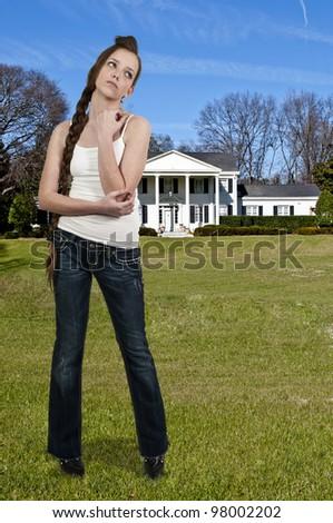 A young Beautiful Woman teenager girl posing - stock photo