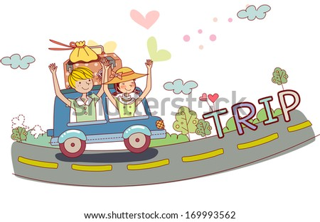 A young boy and girl travel in a car with luggage packed on the top.