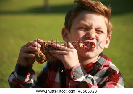 a young boy enjoys fried chicken at a picnic - stock photo