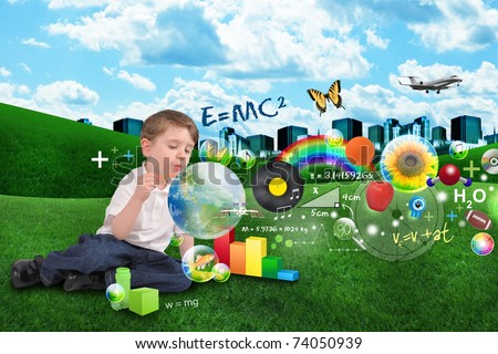 A young boy is blowing bubbles with learning objects inside spread out over a city and clouds. Science, art and music symbols floating.