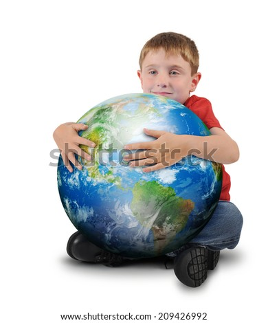 A young boy is holding the planet earth and smiling on a white isolated background for a environment or geography concept. Elements of this image furnished by NASA. - stock photo