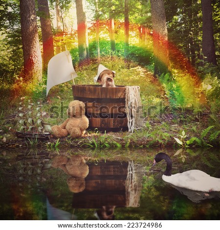 A young boy is sitting in a wooden barrel in the woods pretending to fish in the water with a swan for a imagination or travel concept. - stock photo