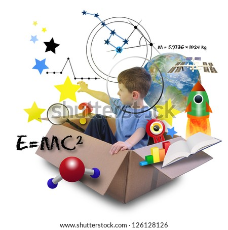 A young boy is using his imagination in a space box. He is an astronaut and grabbing stars in the sky with math and science icons. - stock photo