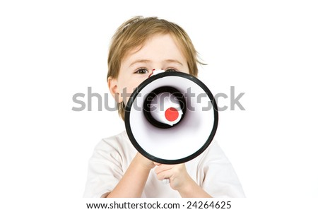 A young boy with a megaphone isolated on white. - stock photo