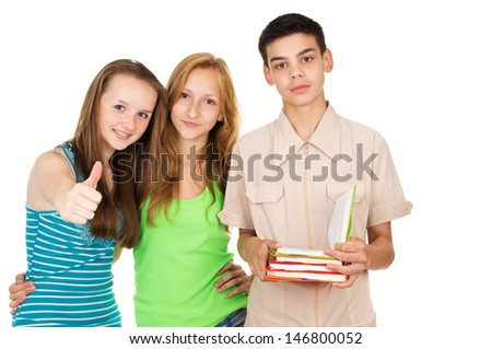 A young boy with books and friends