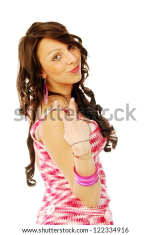 A young brunette in red and white - stock photo