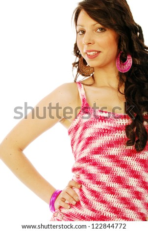 A young brunette in red and white - 139 - stock photo