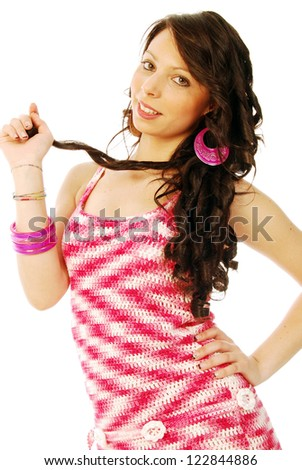 A young brunette in red and white - 133 - stock photo
