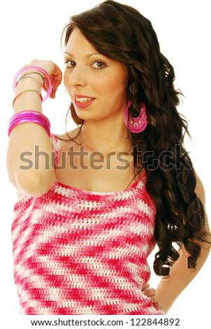 A young brunette in red and white - 129 - stock photo
