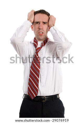 A young business employee is getting a headache from all the stress, isolated against a white background - stock photo