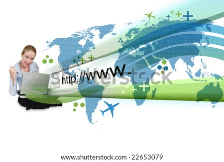 A young business woman is sitting on the ground with a laptop and an abstract internet address is popping out with a map and binary code. - stock photo