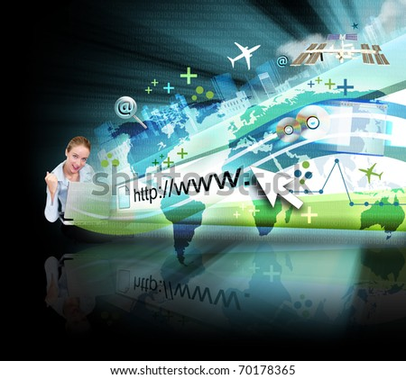 A young business woman is sitting on the ground with a laptop and an abstract internet address is popping out with a map and binary code. There are many objects coming out with a glow. - stock photo
