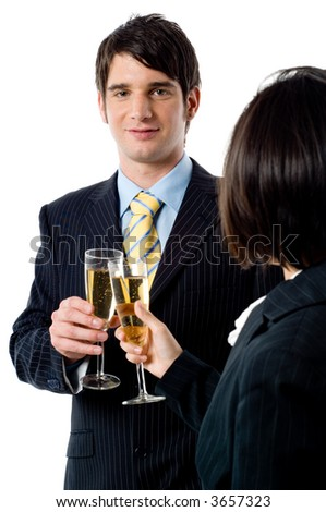 A young businessman and female colleague celebrate thier success on white background