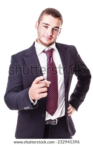 a young businessman pointing at you isolated over a white background - stock photo