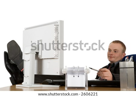 a young businessman relax in his office