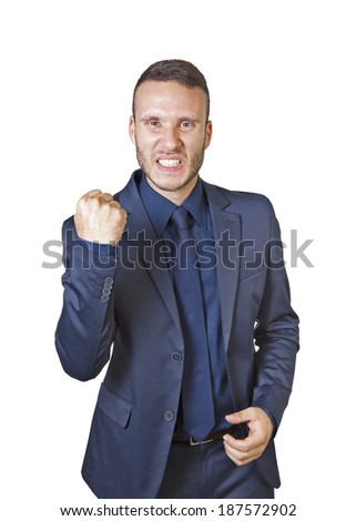 a young businessman shouts for success isolated on a white background - stock photo