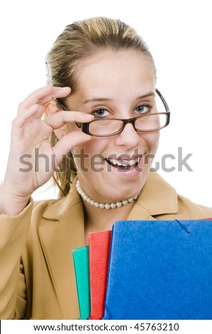 A young businesswoman with folder, isolated on white