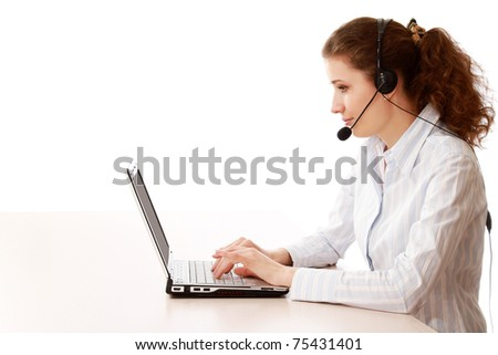A young call service girl working - stock photo