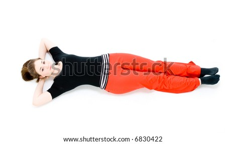 A young caucasian girl doing different stretches