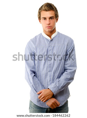 A young college guy, isolated on white - stock photo