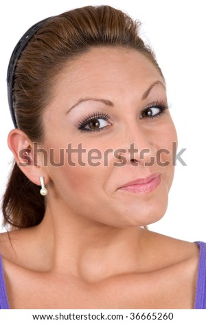A young congenial woman is just delighted by the circumstances. - stock photo