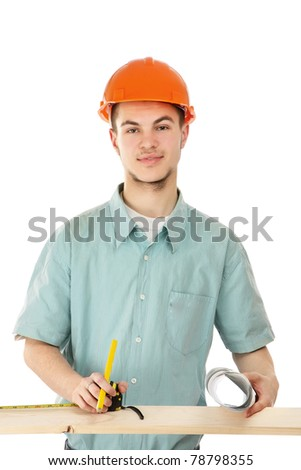 A young construcation worker - stock photo