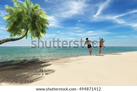 A young couple walking and dancing along a beach on a tropical island. This is a 3d render illustration
