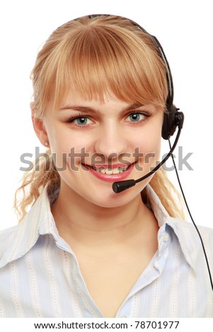 A young customer service girl with a headset, side-view