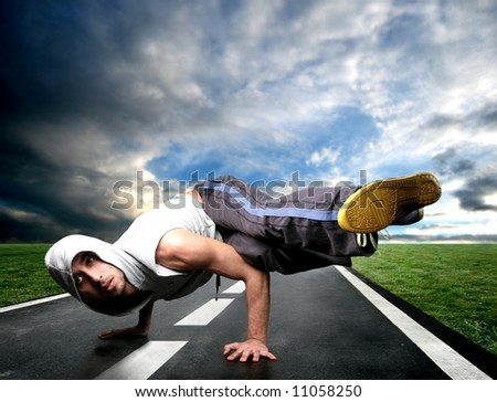 a young dancer on the street - stock photo