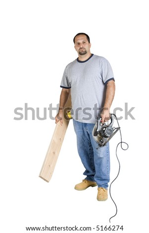 A young do-it-yourselfer on an isolated white background - stock photo