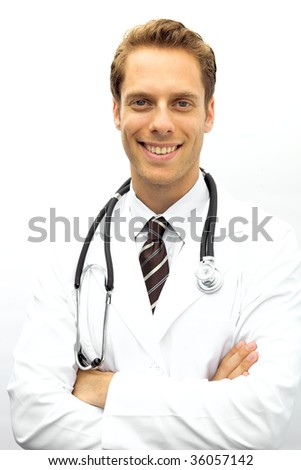 A young doctor with a stethoscope looking at camera - stock photo
