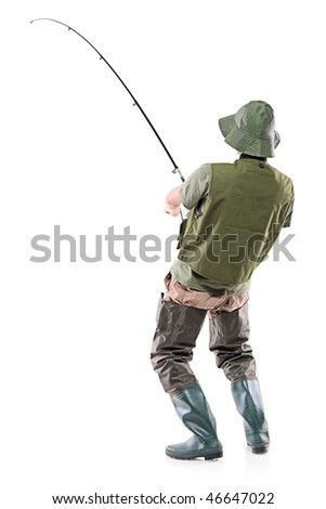 A young euphoric fisherman isolated on white background