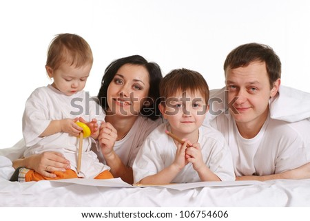 a young family on white background