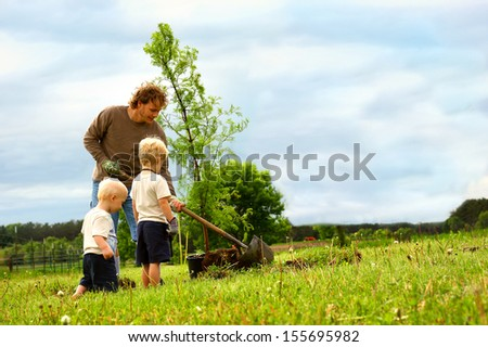 a young father and his two children are outside planting a Dawn Redwood Tree in their yard - stock photo