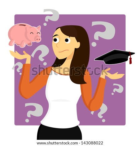 A young female student is worried about the money that goes into her education. - stock photo