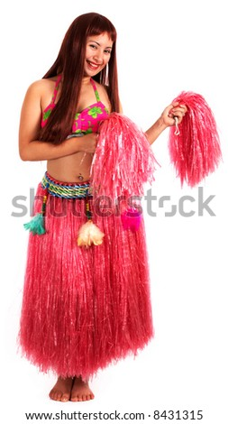 A young female wearing a hawaiian costume