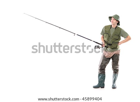 A young fisherman waiting isolated on white background